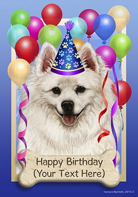 American Eskimo Dog Personalized Happy Birthday Flag