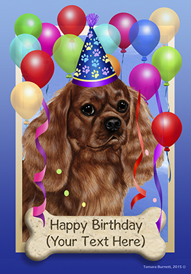 Cavalier King Charles Spaniel Ruby Happy Birthday Flag By