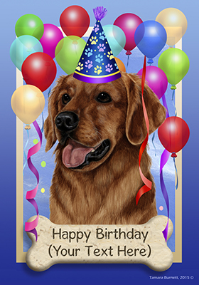 Golden Retriever Red Happy Birthday Flag By Tamara Burnett