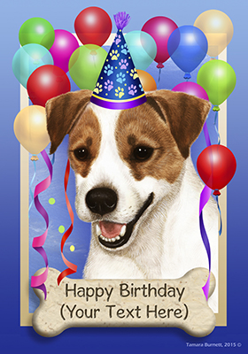 Jack Russell Happy Birthday Flag By Tamara Burnett