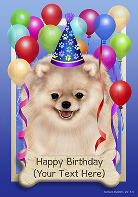 Pomeranian Cream Happy Birthday Flag