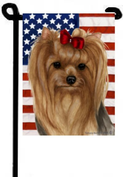 Yorkie Red Bow Garden Flag