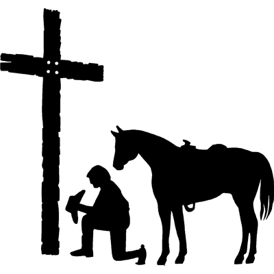 Guy Praying At Cross With Horse Decal Furrypartners