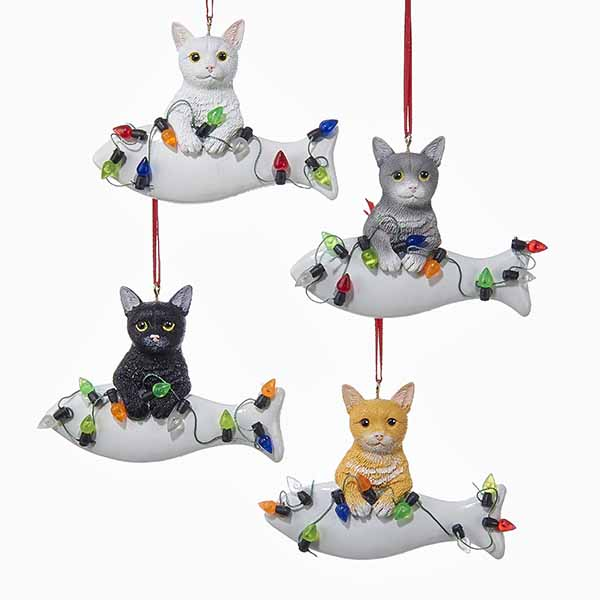 cat wfish lights ornament - Cat Christmas Decorations