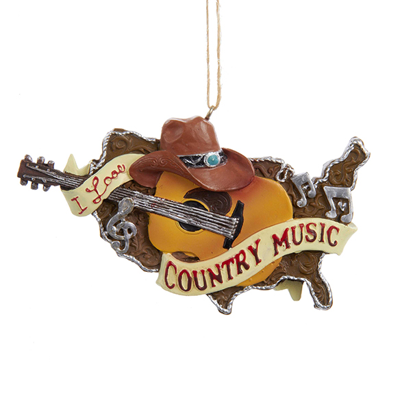 I Love Country Music Guitar Ornament - I Love Country Music Guitar Ornament - Furrypartners
