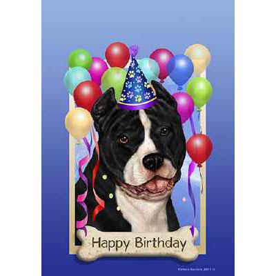 American Pit Bull Terrier Happy Birthday Flag By Tamara