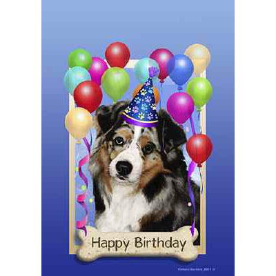 Australian Shepherd Blue Merle Happy Birthday Flag By