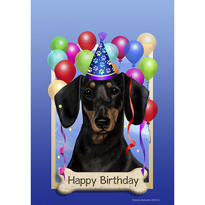 dachshund happy birthday Dachshund Black & Tan Happy Birthday Flag by Tamara Burnett  dachshund happy birthday