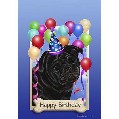 Pug Black Happy Birthday Flag