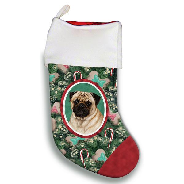 Pug Fawn Christmas Stocking