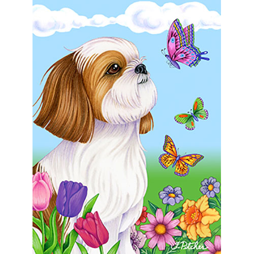 Shih Tzu Brown/White Butterfly Flag