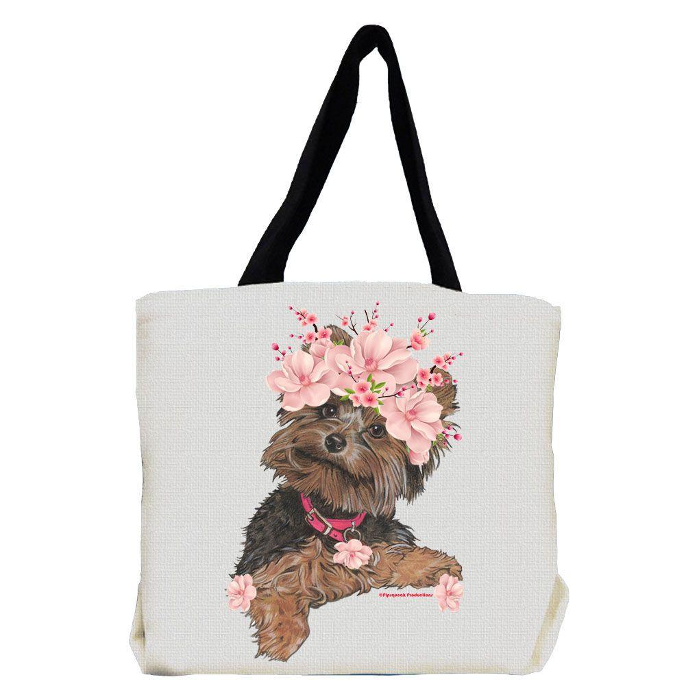 New Large Handmade Yorkshire Terrier Yorkie Denim Tote Bag