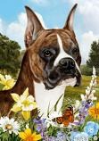 Boxer Brindle Cropped Summer Flowers Flag