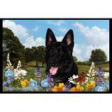 German Shepherd Black Summer Flowers Floor Mat