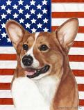 Corgi Pembroke Tan/White Patriotic II Flag