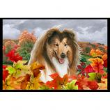 Collie Sable Fall Leaves Floor Mat